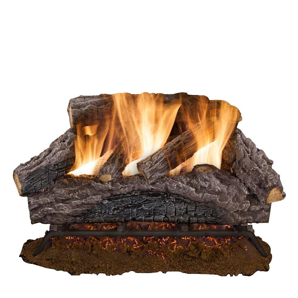 Charred River Oak Vented Natural Gas Log Set from Emberglow creates the most realistic dancing flames. Features innovative dual burner.