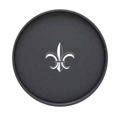Kasualware Fleur de Lis 14 in. Round Serving Tray in Black