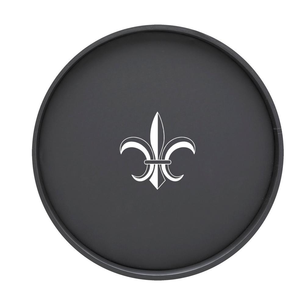 Kasualware Fleur de Lis 14 in. Round Serving Tray in Black