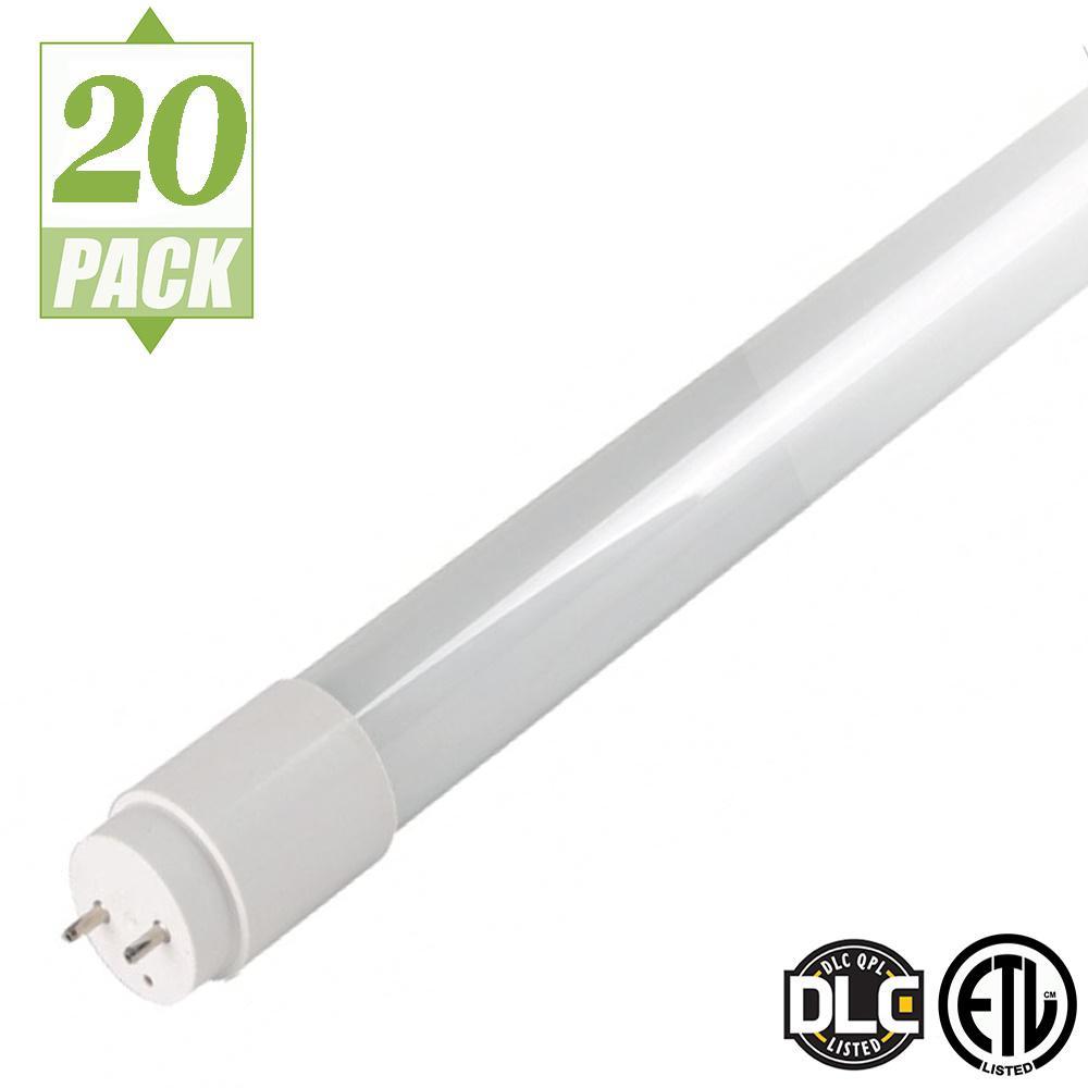 4 ft. T8 16-Watt White LED Tube Light Bulb (20-Pack)