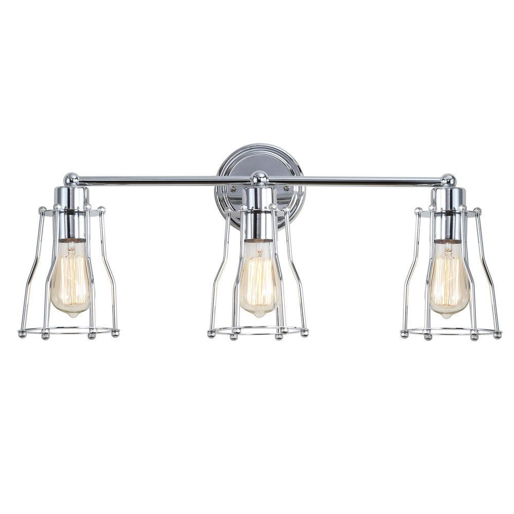 JONATHAN Y Evelyn 24 in. 3-Light Metal Chrome Vanity Light
