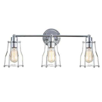 Evelyn 24 in. 3-Light Metal Chrome Vanity Light