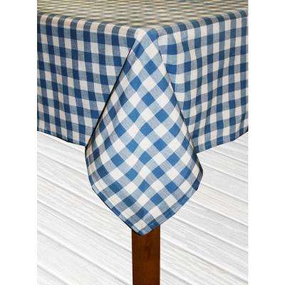 Buffalo Check 60 in. x 104 in. Navy 100% Cotton Table Cloth for Any Table