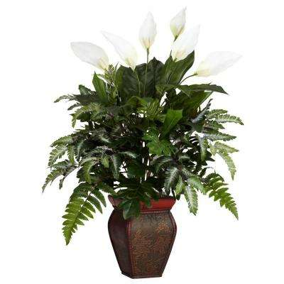 29 in. H Green Mixed Greens with Spathyfillum and Decorative Vase Silk Plant