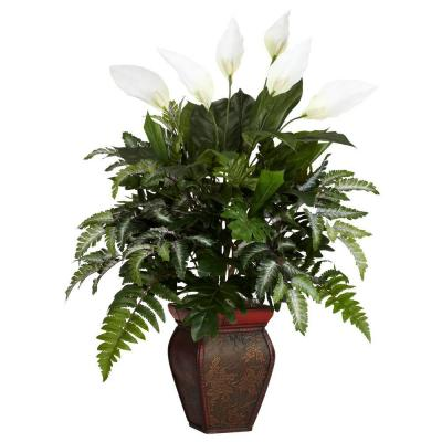 29 in. H Green Mixed Greens with Spathiphyllum and Decorative Vase Silk Plant