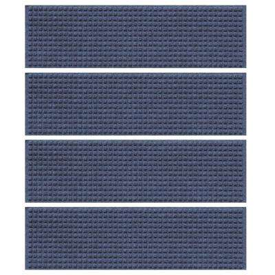 Navy 8.5 in. x 30 in. Squares Stair Tread Cover (Set of 4)
