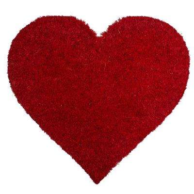 I Heart You 20 in. x 21.5 in. Non-Slip Coir Door Mat