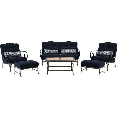 Oceana 6-Piece Patio Seating Set with a Tile-Top Coffee Table and Navy Blue Cushions