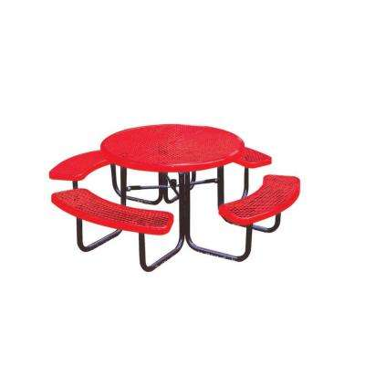 46 in. Diamond Red Commercial Park Round Portable Table