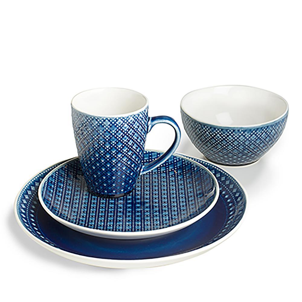 Palma 32-Piece Geometric Pattern Blue Dinnerware Set (Service for 8)