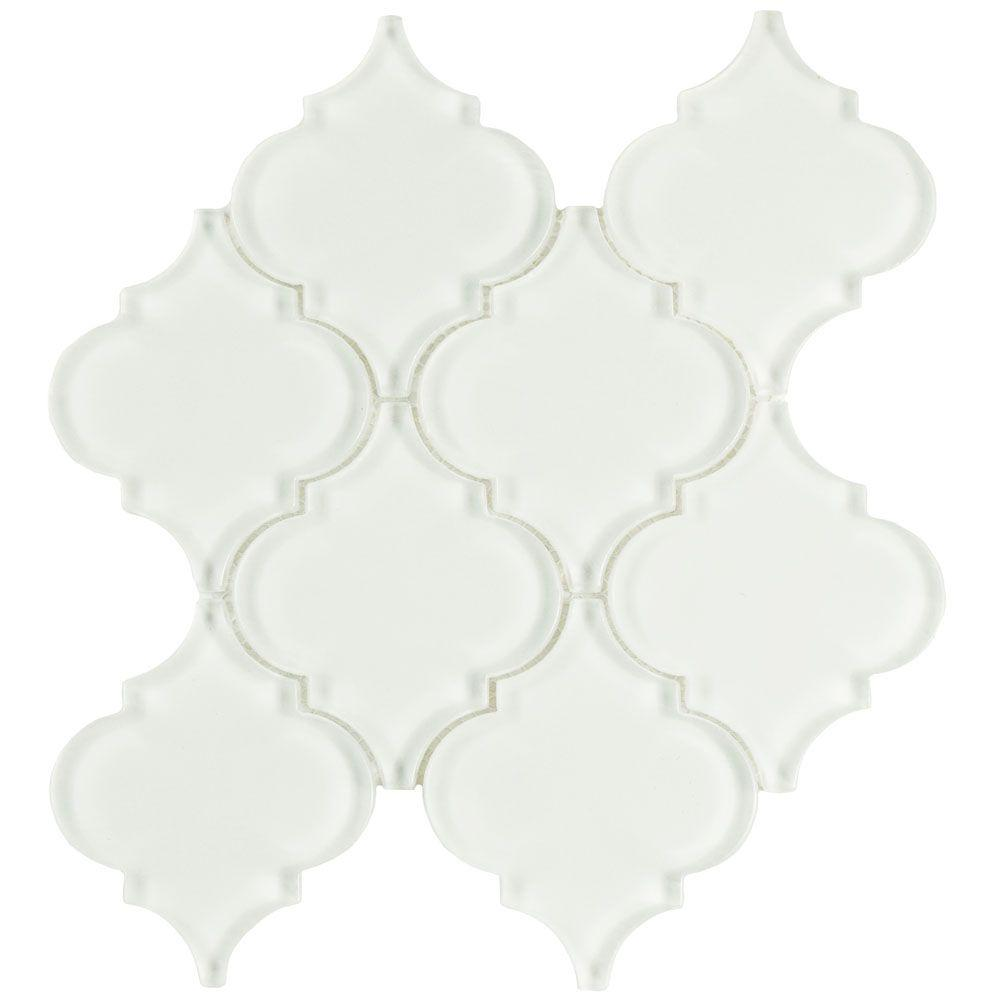 Merola Tile Lantern Ice White 8 in. x 8-5/8 in. x 8 mm Glass Mosaic ...