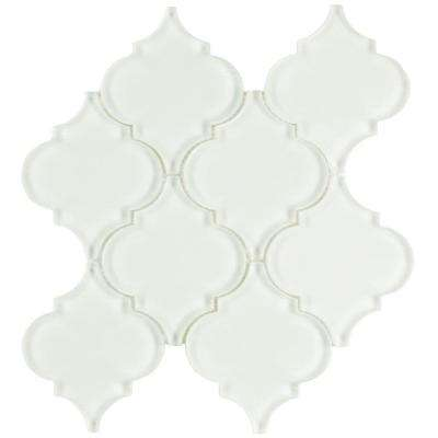 Lantern Ice White 8 in. x 8-5/8 in. x 8 mm Glass Mosaic Tile
