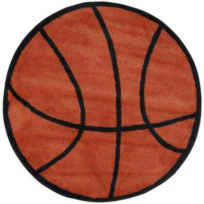 Fun Time Shape Basketball Brown and Black 39 in. Round Area Rug