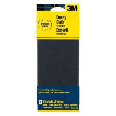 3-2/3 in. x 9 in. Coarse Medium and Fine Grit Emery Cloth Sandpaper (3-Sheets/Pack) (Case of 20)