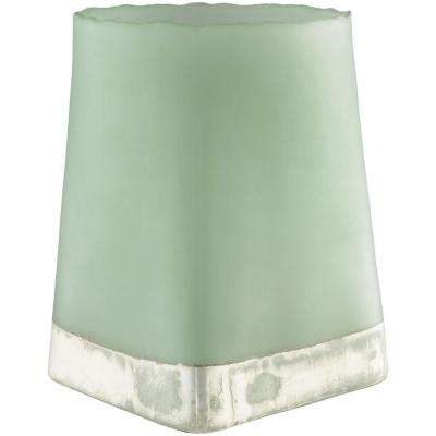 Omss 14.75 in. Sage Glass Candle Holder