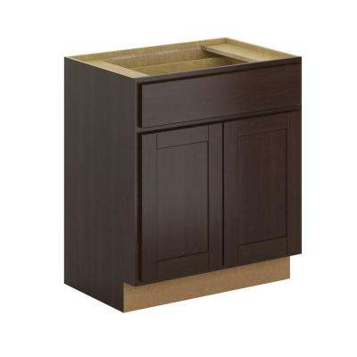Princeton Shaker Assembled 30x34.5x21 in. Base Bathroom Vanity Cabinet in Java