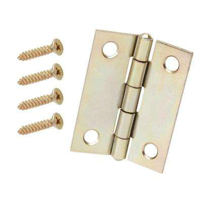 2 in. x 2 in. Satin Brass Narrow Utility Hinge Non-Removable Pin (2-Pack)