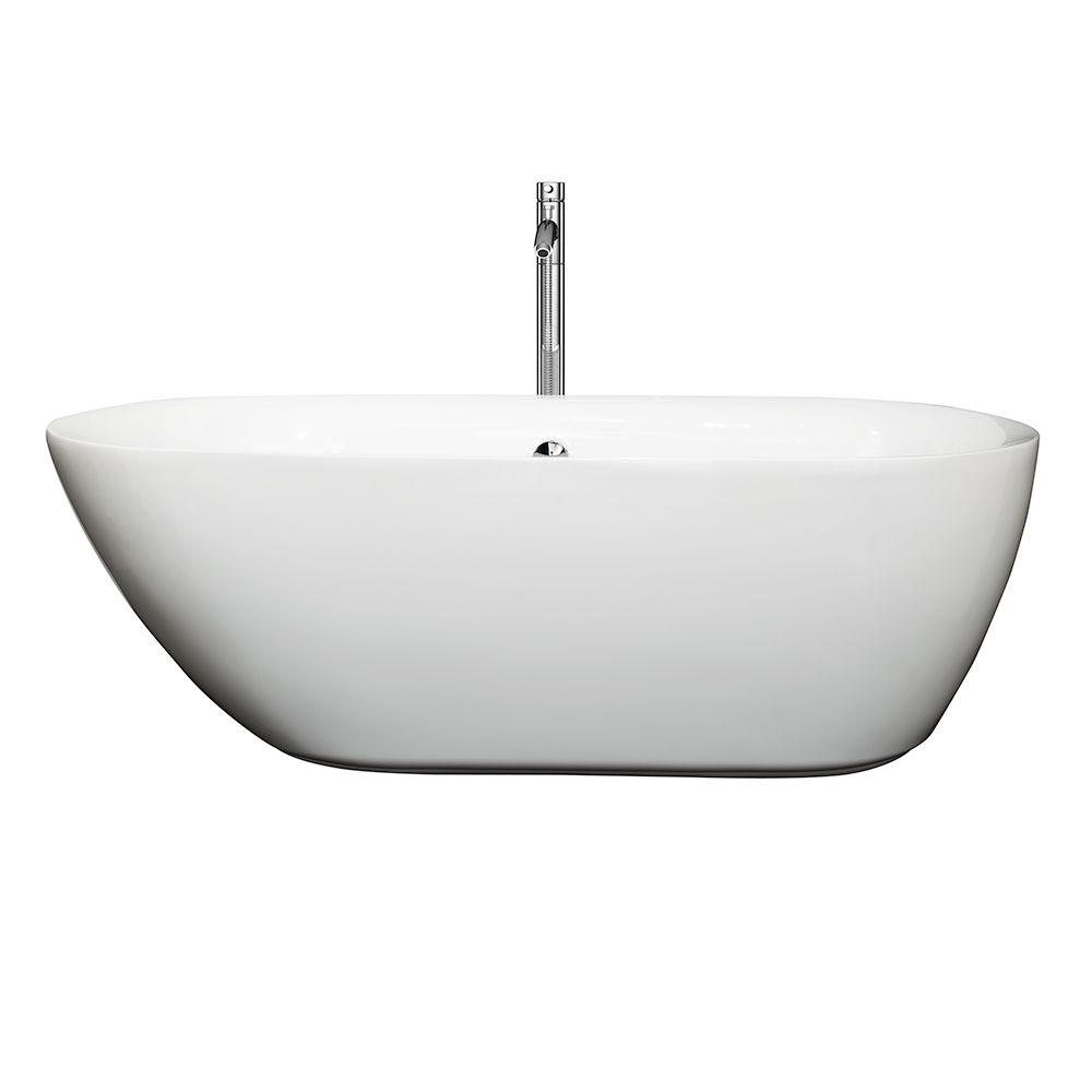 Melissa 65 in. Acrylic Flatbottom Center Drain Soaking Tub in White