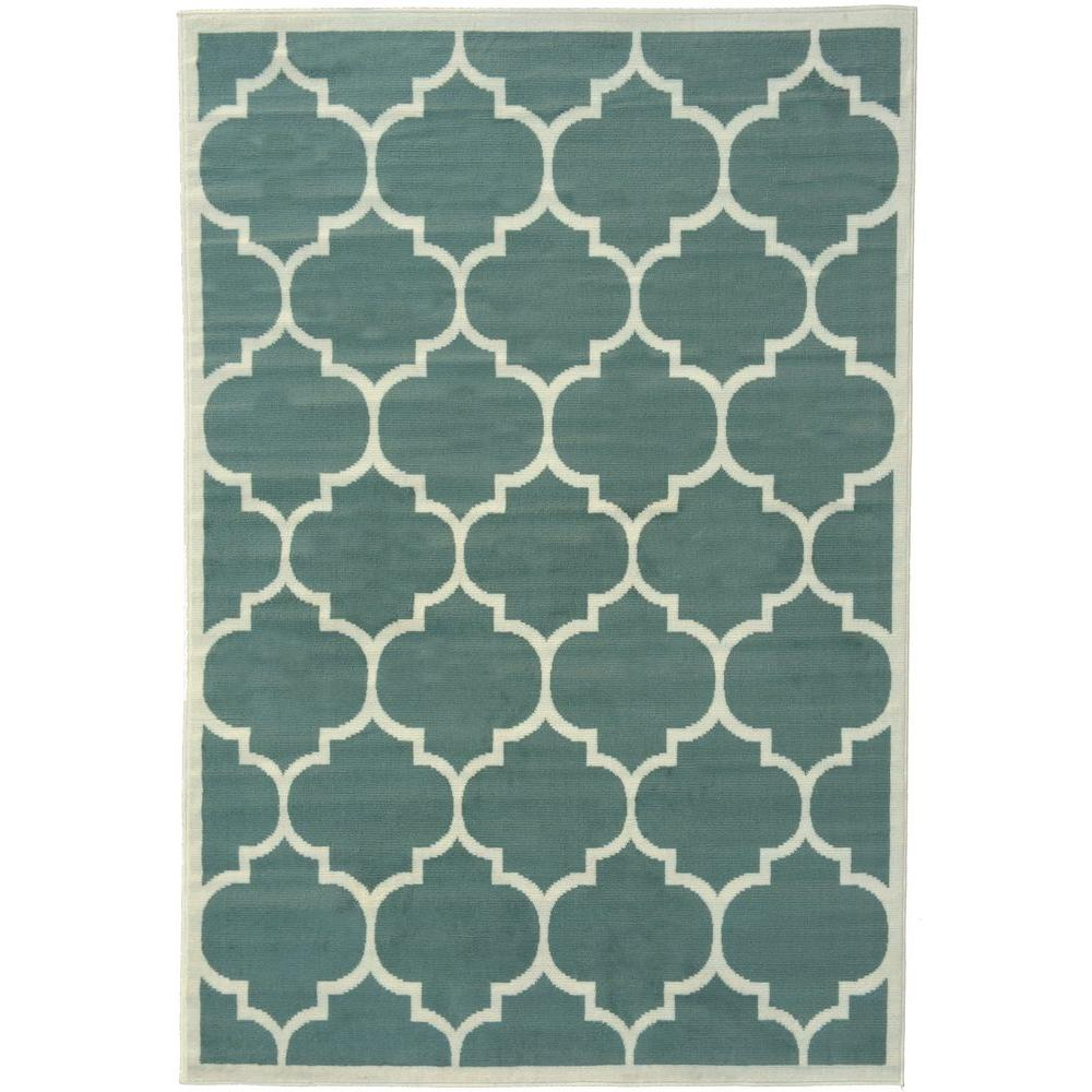 Berrnour Home Contemporary Moroccan Trellis Sage Green 5 Ft X 7 Area Rug
