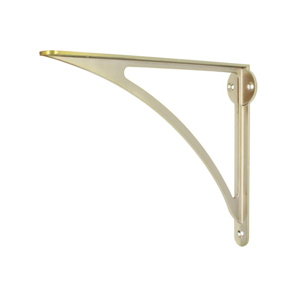 Everbilt 10 in. x 8 in. Satin Brass Modern Medium Duty Shelf Bracket