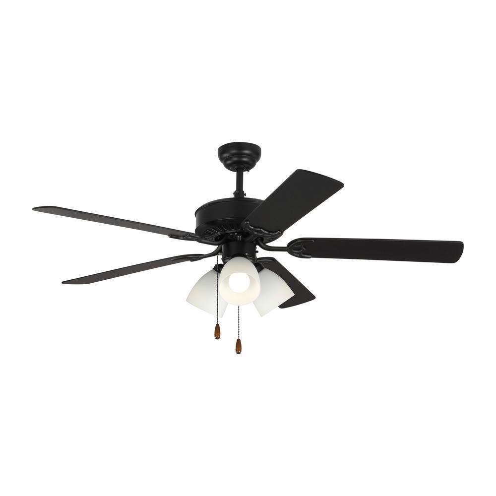 Haven LED 3 52 in. Indoor Matte Black Ceiling Fan with Light Kit