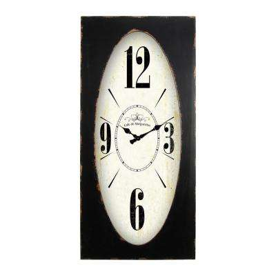Speakeasy Spokes Distressed Brown Rectangle Wall Clock