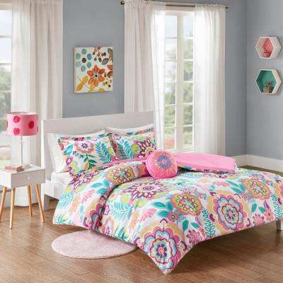 Corinne 3-Piece Pink Twin/Twin XL Floral Comforter Set