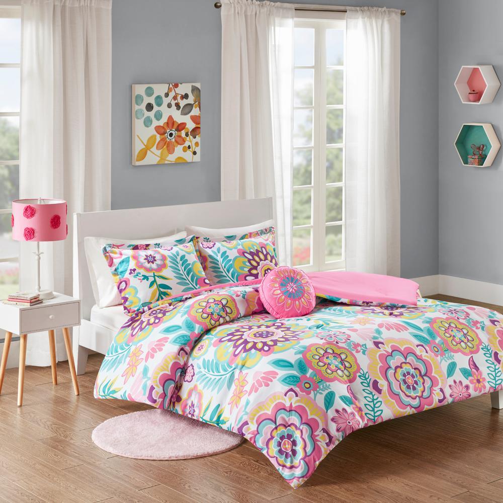Mi Zone Corinne 4-Piece Pink Full/Queen Floral Comforter Set MZ10-0561