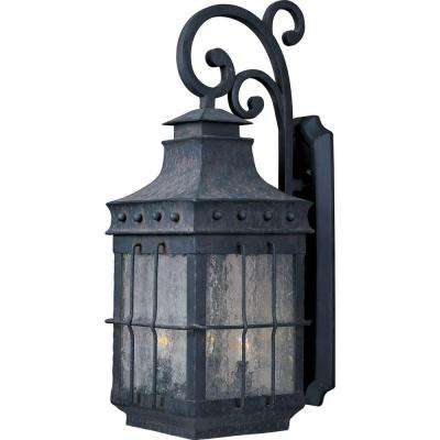 Nantucket 3-Light Country Forge Outdoor Wall Mount