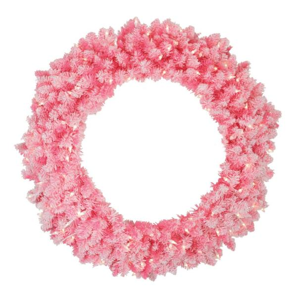 36 in. Pre-Lit Flocked Pink Artificial Christmas Wreath with Clear Lights