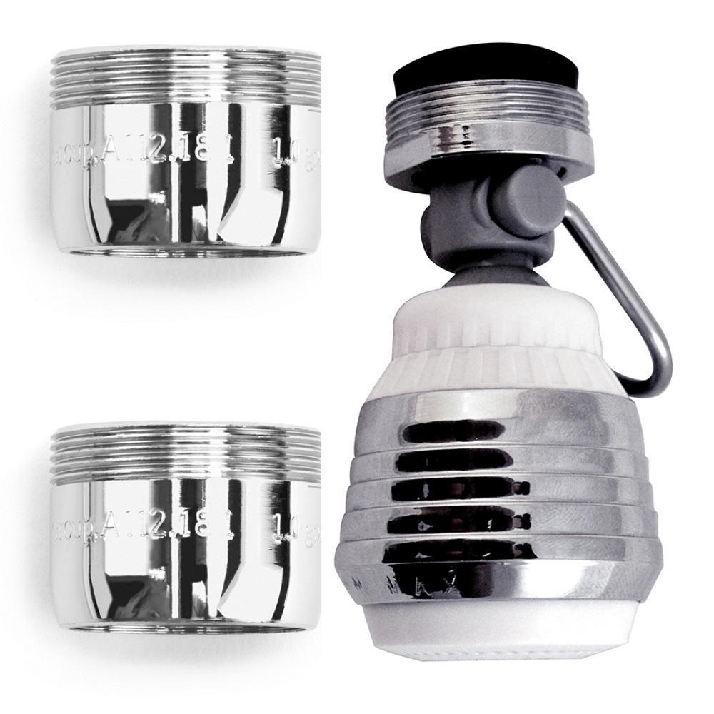 Water Saving Aerator Combo Pack-1 Swivel Dual Spray Kitchen Aerator w/Pause Lever, 2 Dual Thread WaterSense Bath Aerator