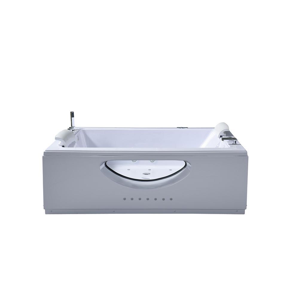 Bali 70 in. Acrylic Center Drain Rectangular Alcove Whirlpool Bathtub in White