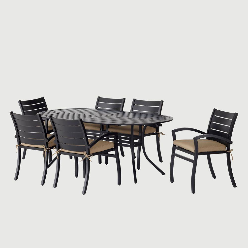 Hampton Bay Morgan Modern 7 Pc. Patio Dining Set with Sunbrella Canvas Heather Beige Cushions-DISCONTINUED