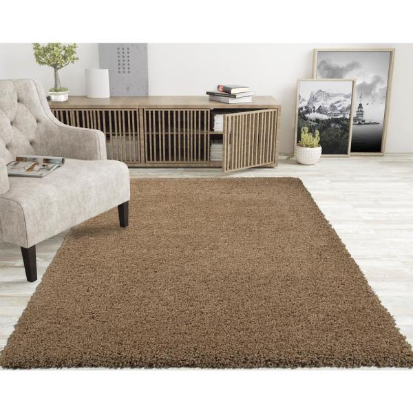 Lifestyle Shaggy Collection Beige 5 ft. x 7 ft. Shag Area Rug