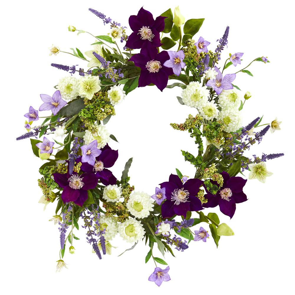 Nearly Natural 22 in. Indoor Mixed Flower Artificial Wreath