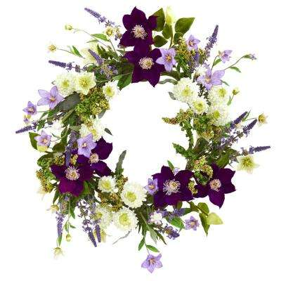 22 in. Indoor Mixed Flower Artificial Wreath