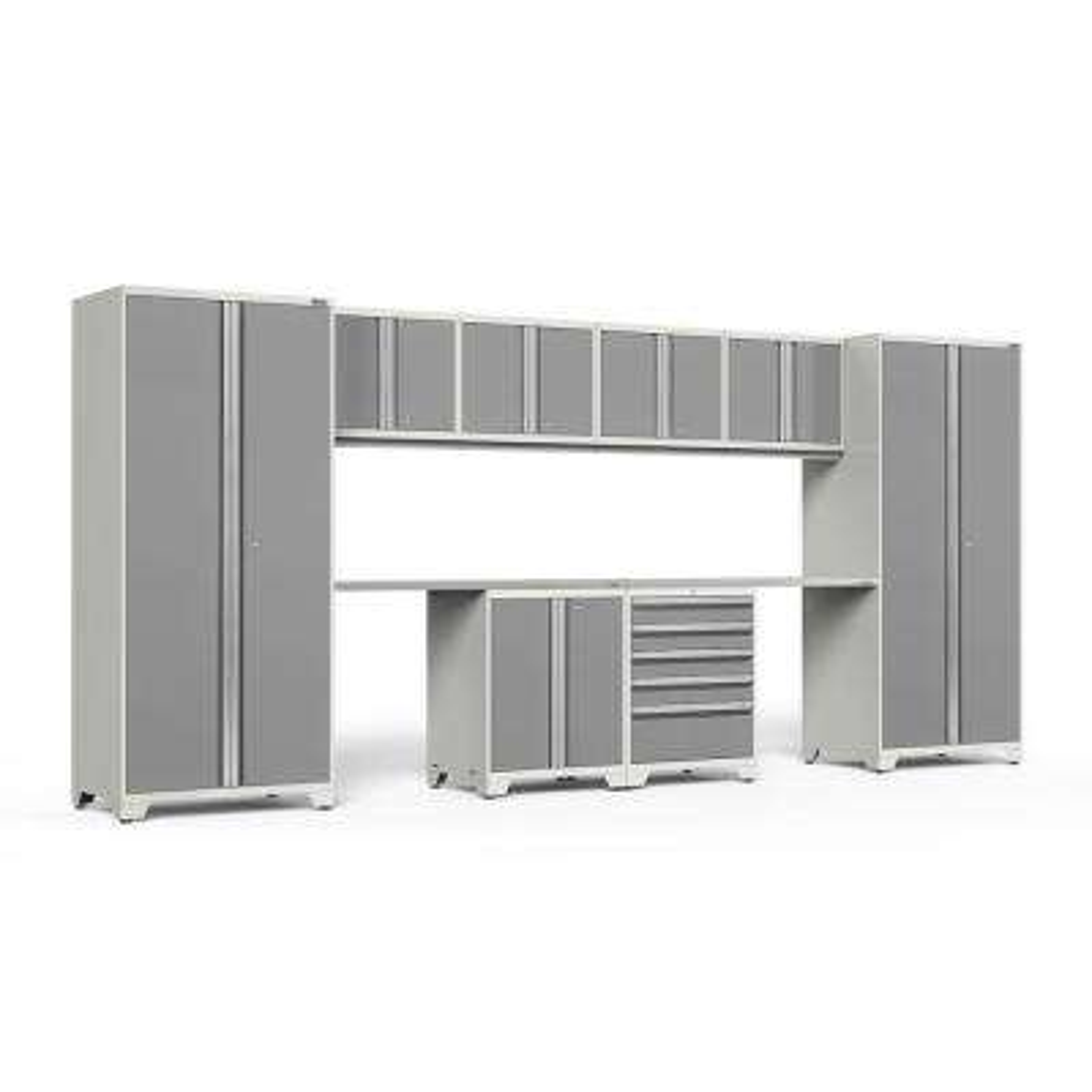 Pro 3.0 184 in. W x 83.25 in. H x 24 in. D 18-Gauge Steel Stainless Steel Worktop Cabinet Set in Platinum (10-Piece)