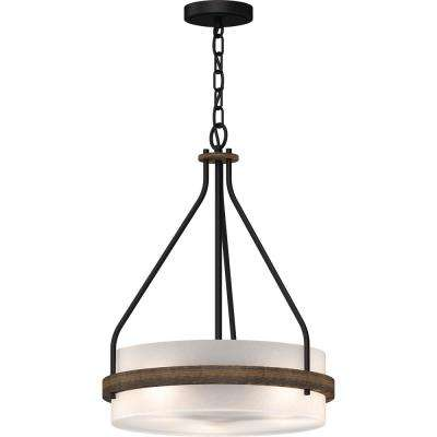 Emery 3-Light Walnut and Black Indoor Mini Hanging Chandelier with Frosted Glass Drum
