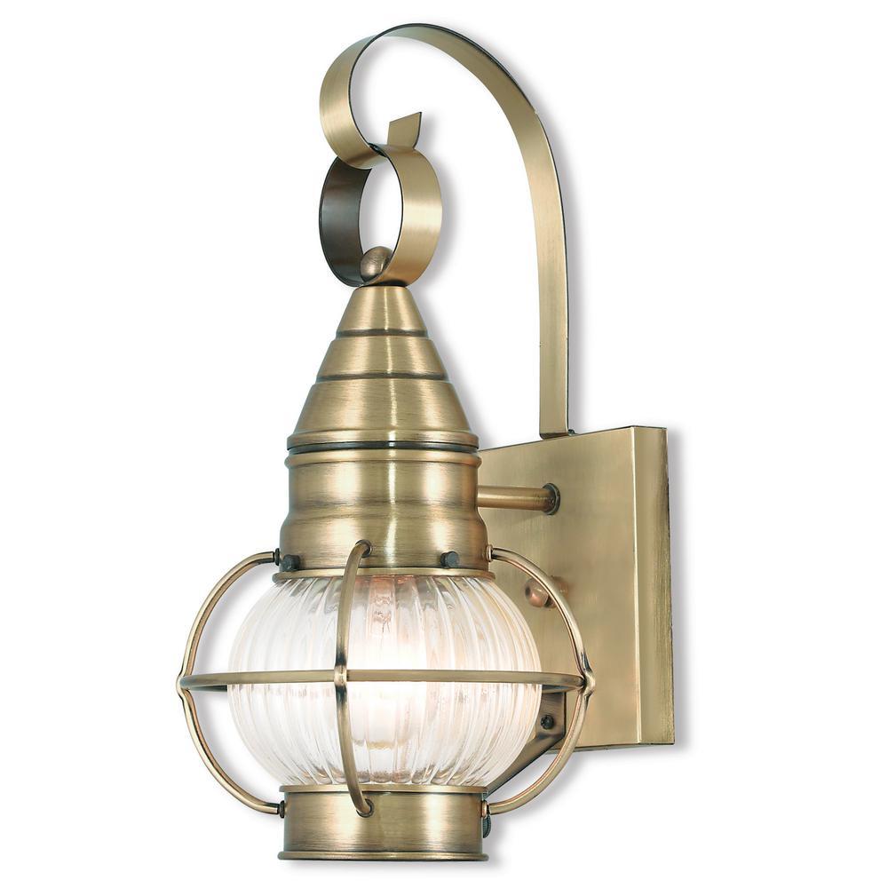 Newburyport 1-Light Antique Brass Outdoor Wall Mount Lantern