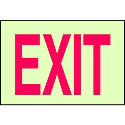 7 in. x 10 in. Glow-in-the-Dark Self-Stick Polyester Exit Sign