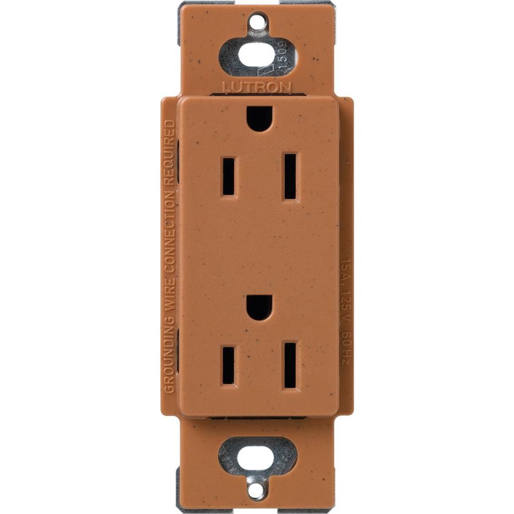 lutron satin colors 15 amp tamper resistant duplex receptacle terracotta scrs 15 tr tc the. Black Bedroom Furniture Sets. Home Design Ideas