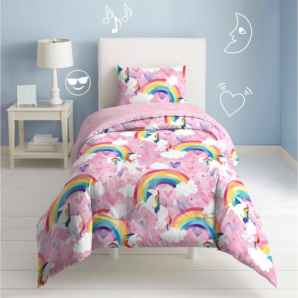 Unicorn 3-Piece Pink Unicorn Rainbow Full Comforter Set