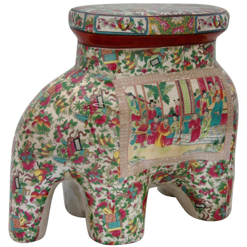 Oriental Furniture 14 in. Rose Medallion Porcelain Elephant Stool