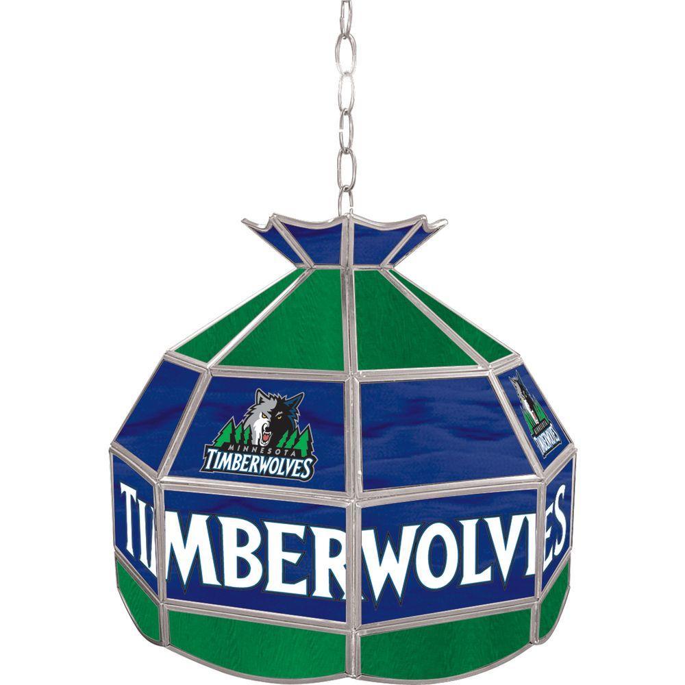 Trademark Minnesota Timberwolves NBA 16 in. Nickel Hanging Tiffany Style Lamp