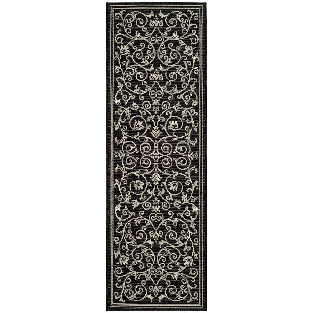 Courtyard Black/Sand 2 ft. 3 in. x 10 ft. Indoor/Outdoor Runner