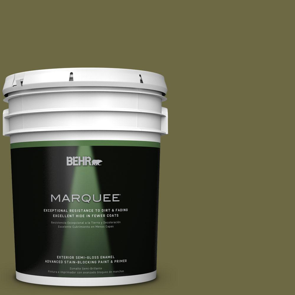 BEHR MARQUEE Home Decorators Collection 5-gal. #HDC-CL-20 Portsmouth Olive Semi-Gloss Enamel Exterior Paint