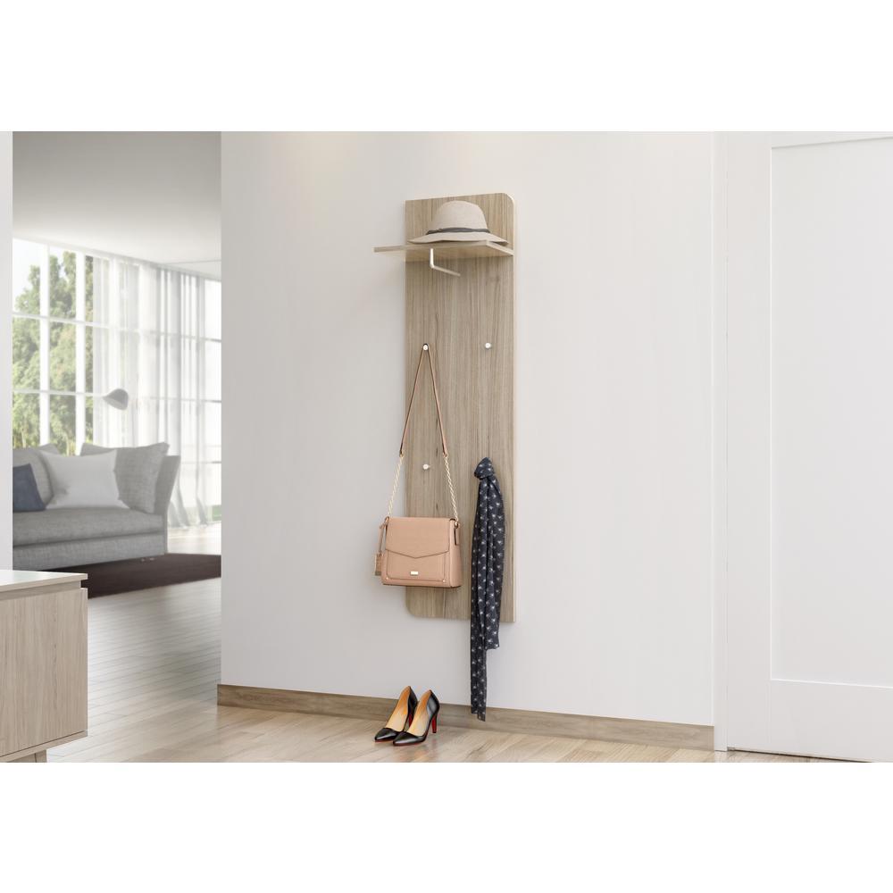 Goccia 63 in. H x 15.75 in. W and Shelf 15.75 in. D Sonoma Oak Modern Wall Mounted Coat Rack with Shelf