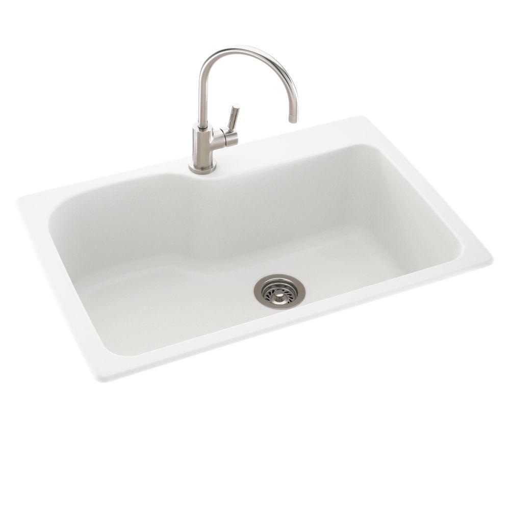Drop-In/Undermount Composite 33 in. 1-Hole Single Bowl Kitchen Sink in White
