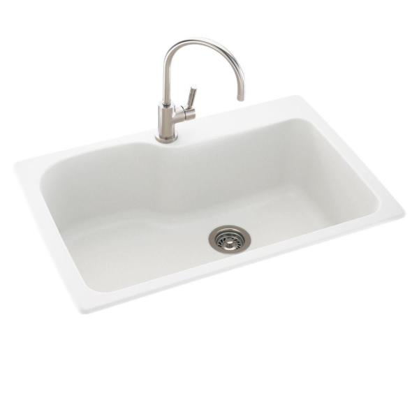 Drop-In/Undermount Solid Surface 33 in. 1-Hole Single Bowl Kitchen Sink in White