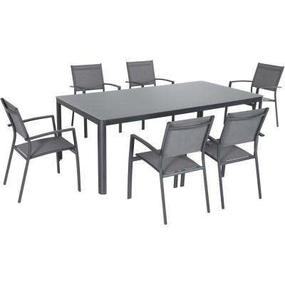 Fresno 7-Piece Aluminum Outdoor Dining Set with 6-Sling Arm Chairs and a 42 in. x 83 in. Glass-Top Table